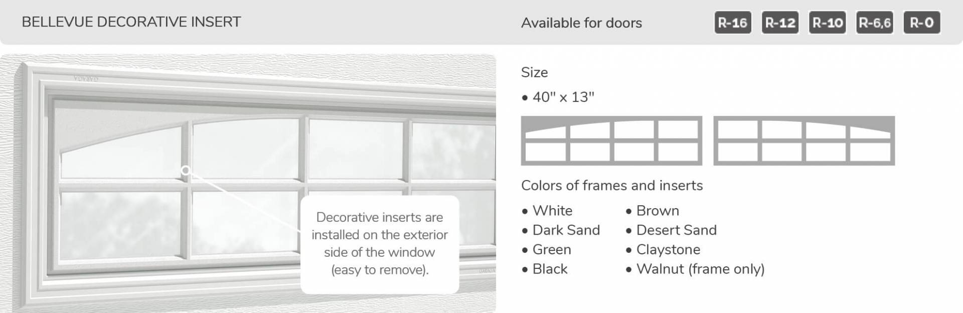 Bellevue Decorative Insert, 40' x 13', available for doors R-16, R-12, R-10, R-6,6 and R-0
