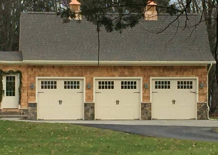 Amarr Garage Doors, 9' x 7', Classica Northampton, Almond, with decorative hardware, Madeira