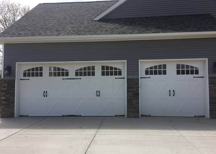 Amarr Garage Doors, 16' x 7' & 8' x 7', Classica Santiago, True White, with decorative hardware, Almond, Seine