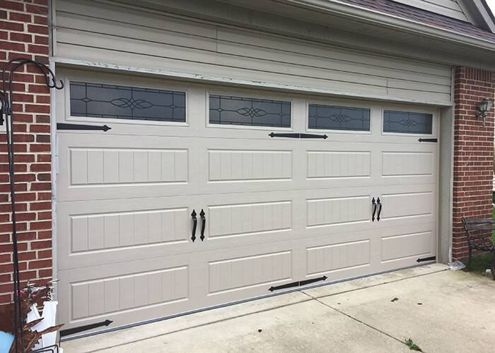 Amarr Garage Doors, 16' x 7', Hillcrest Long Panel Bead Board, Sandtone, with decorative hardware, Long Panel Victorian