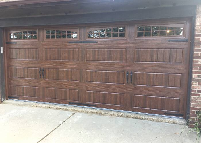 Amarr Garage Doors, 16' x 7', Oak Summit Long Panel Bead Board, Walnut, with decorative hardware, Long Panel Moonlite