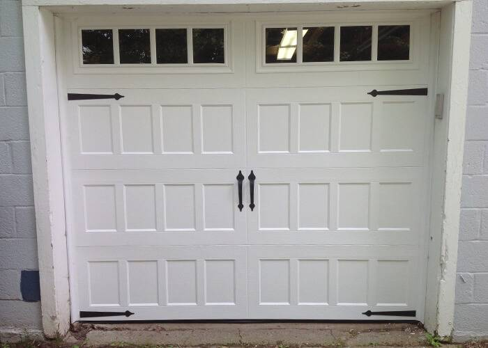 Amarr Garage Doors, 8' x 7', Oak Summet, Recessed, True White, with decorative hardware Blue Ridge, Long Panel Thames