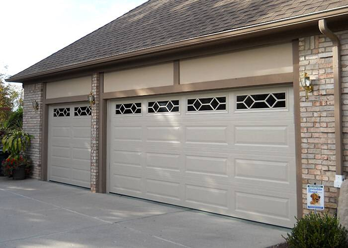 Amarr Garage Doors, 8' x 7' & 16' x 7', Stratford Long Panel, Almond, Long Panel Waterford